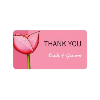 Simple Flowers pink Wedding Thank You Sticker label