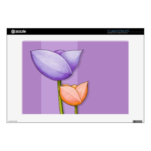 "Simple Flowers purple 13"" Laptop For Mac & PC Skin 13"" Laptop Decals"