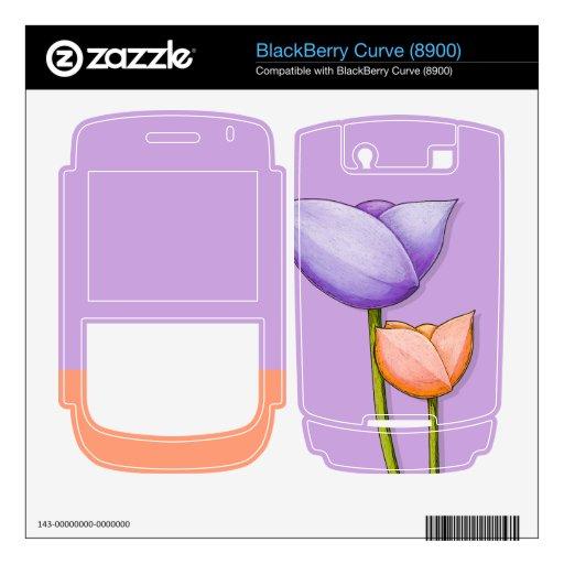 Simple Flowers purple Blackberry Curve (8900) Skin BlackBerry Skins