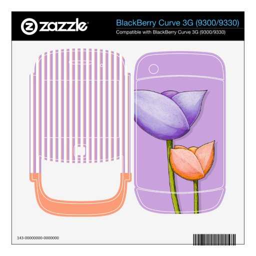 Simple Flowers purple Curve 3G (9300/9330) Skin Skin For BlackBerry