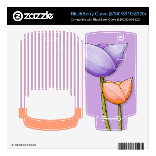 Simple Flowers purple Curve (8300/8310/8320) Skin BlackBerry Curve Skins