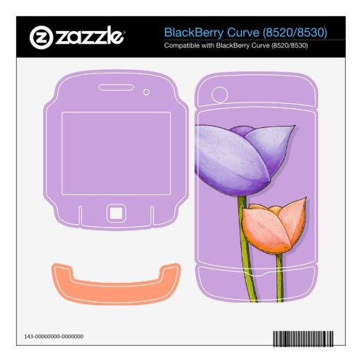 Simple Flowers purple Curve (8520/8530) Skin BlackBerry Curve Decal