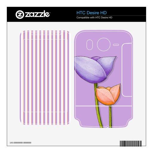 Simple Flowers purple HTC Desire HD Skin