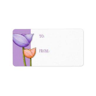 Simple Flowers purple orange 2 Gift Tag label