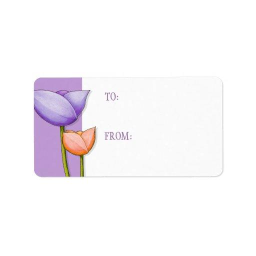 Simple Flowers purple orange 2 Gift Tag Address Label