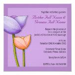"""Simple Flowers purple orange 2 Wedding Invitation 5.25"""" Square Invitation Card"""