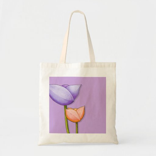 Simple Flowers purple orange Bag