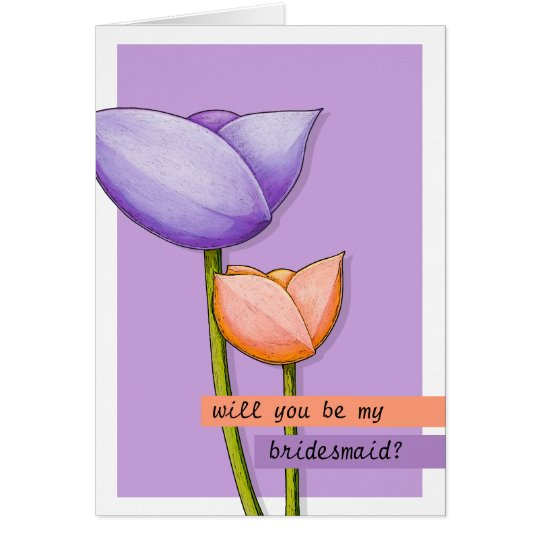 Simple Flowers purple orange Be My Bridesmaid Card