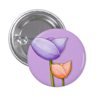 Simple Flowers purple orange Button