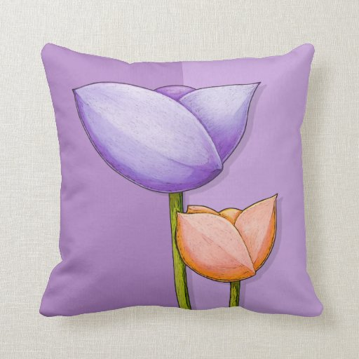 Simple Flowers purple orange Cushion Throw Pillows