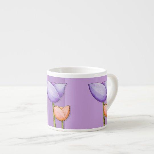 Simple Flowers purple orange Espresso Mug