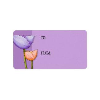 Simple Flowers purple orange Gift Tag label