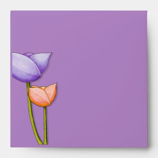 Simple Flowers purple orange inside Square Envelope