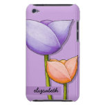 Simple Flowers purple orange iPod 4 Barely There iPod Touch Cover