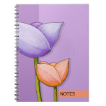Simple Flowers purple orange Notebook