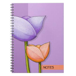 Simple Flowers purple orange Notebook