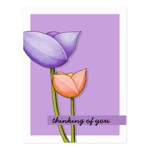 Simple Flowers purple orange Postcard