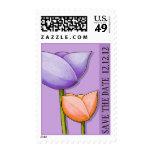 Simple Flowers purple orange Save the Date Stamp