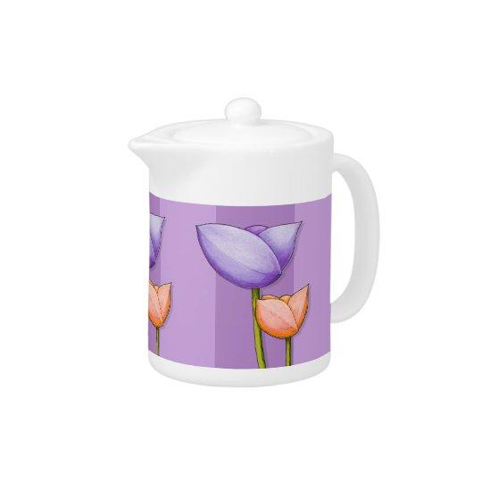 Simple Flowers purple orange Teapot