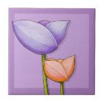 Simple Flowers purple orange Tile