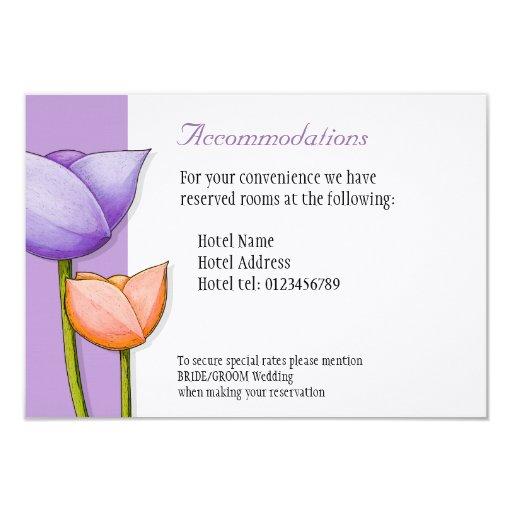 Simple Flowers purple orange Wedding Enclosure 3.5x5 Paper Invitation Card