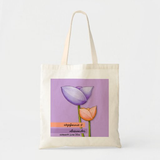 Simple Flowers purple orange Wedding Gift Bag