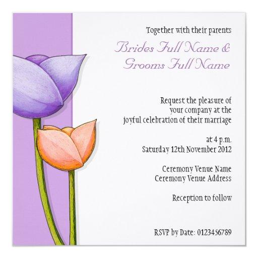 """Simple Flowers purple orange Wedding Invitation 5.25"""" Square Invitation Card"""