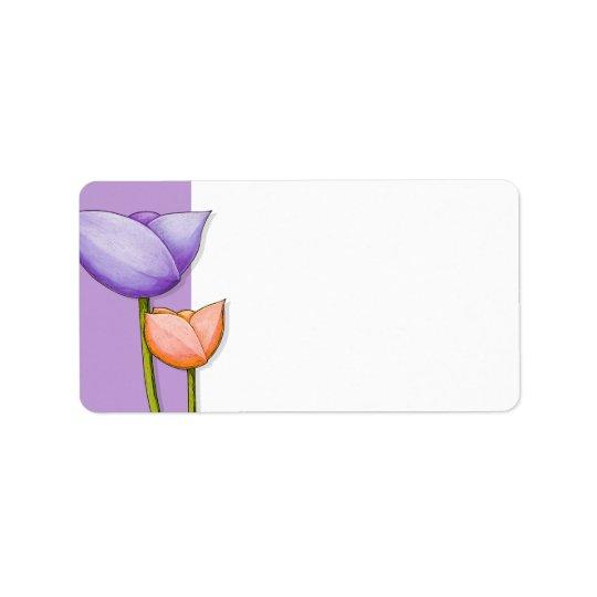 Simple Flowers purple orange white Address Label