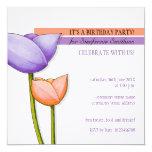 Simple Flowers purple orange white Birthday Invite