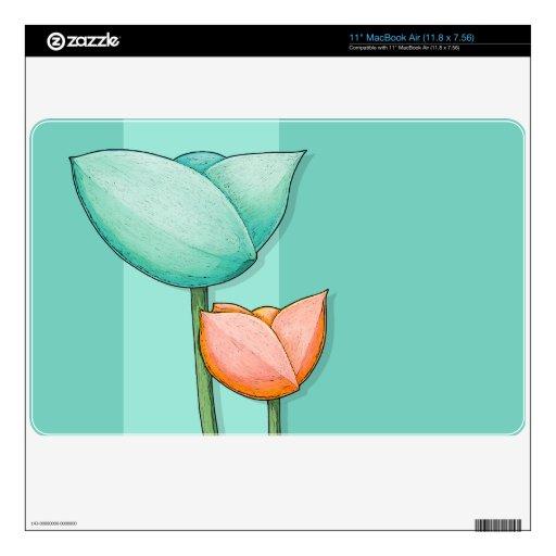 """Simple Flowers teal 11"""" MacBook Air Skin"""