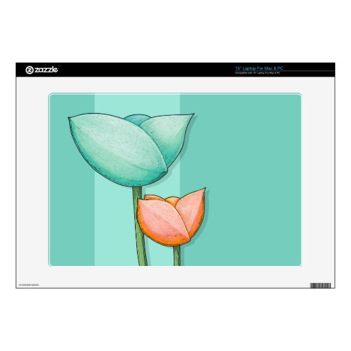 """Simple Flowers teal 15"""" Laptop For Mac & PC Skin Skin For 15"""" Laptop"""