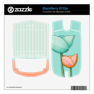 Simple Flowers teal BlackBerry 8703e Skin