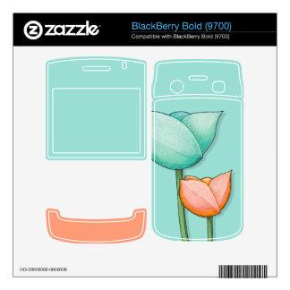 Simple Flowers teal BlackBerry Bold (9700) Skin Skins For BlackBerry