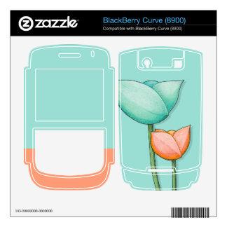 Simple Flowers teal Blackberry Curve 8900 Skin BlackBerry Skin