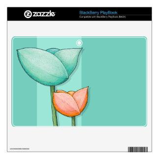 Simple Flowers teal BlackBerry PlayBook Skin