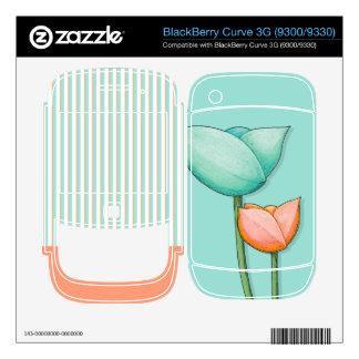 Simple Flowers teal Curve 3G 9300 9330 Skin BlackBerry Curve 3G Skin