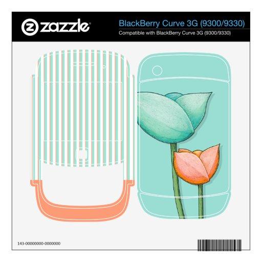 Simple Flowers teal Curve 3G (9300/9330) Skin BlackBerry Curve 3G Skin