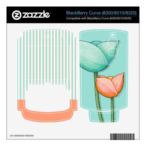 Simple Flowers teal Curve (8300/8310/8320) Skin Skin For BlackBerry