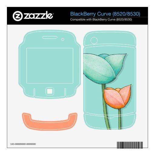Simple Flowers teal Curve (8520/8530) Skin BlackBerry Decal