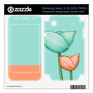 Simple Flowers teal Galaxy S 4G Skin Samsung Galaxy S 4G Decal