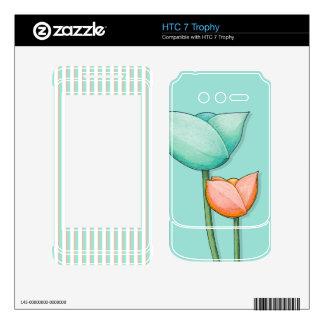 Simple Flowers teal HTC 7 Trophy Skin