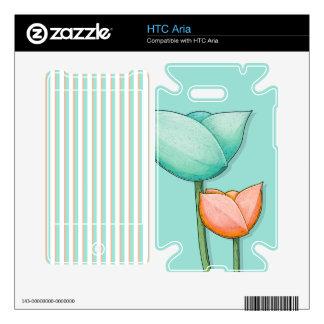 Simple Flowers teal HTC Aria Skin