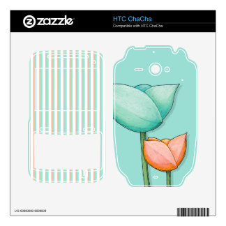 Simple Flowers teal HTC ChaCha Skin