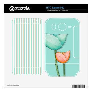 Simple Flowers teal HTC Desire HD Skin