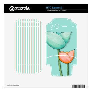 Simple Flowers teal HTC Desire S Skin