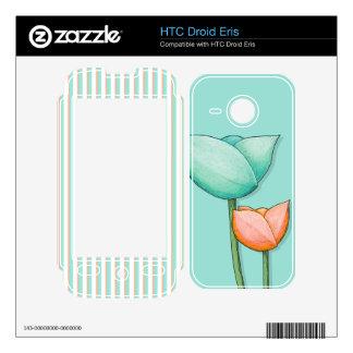 Simple Flowers teal HTC Droid Eris Skin