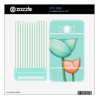 Simple Flowers teal HTC HD2 Skin