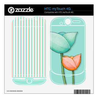 Simple Flowers teal HTC myTouch 4G Skin