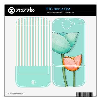 Simple Flowers teal HTC Nexus One Skin