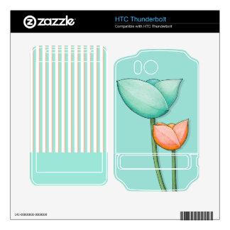 Simple Flowers teal HTC Thunderbolt Skin